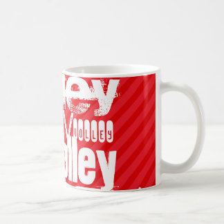 Volley; Scarlet Red Stripes Classic White Coffee Mug