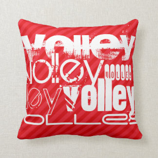 Volley; Scarlet Red Stripes Throw Pillow