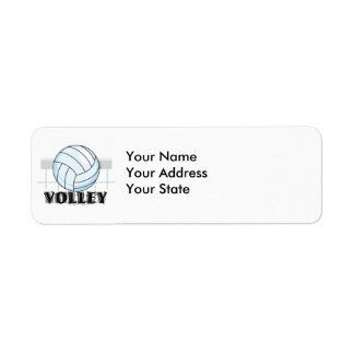 volley volleyball graphic and text return address label