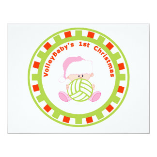 VolleyBaby's First Christmas Girl Personalize 4.25x5.5 Paper Invitation Card
