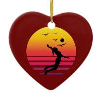 volleyball 2-01 retro sunset, #volleyball 2-01 ceramic ornament