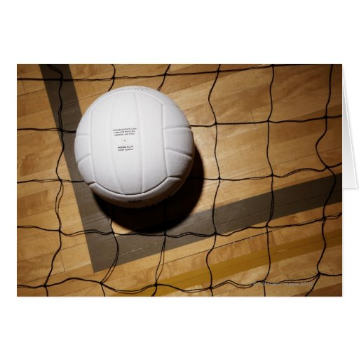 Volleyball and net on hardwood floor of card