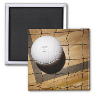 Volleyball and net on hardwood floor of magnet