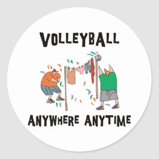 Volleyball AnyWhere Anytime Classic Round Sticker