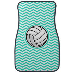 Volleyball; Aqua Green Chevron Car Floor Mat