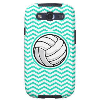 Volleyball; Aqua Green Chevron Samsung Galaxy SIII Cases