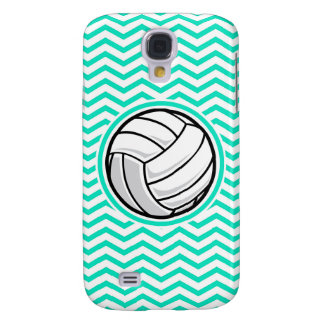 Volleyball; Aqua Green Chevron Samsung Galaxy S4 Covers