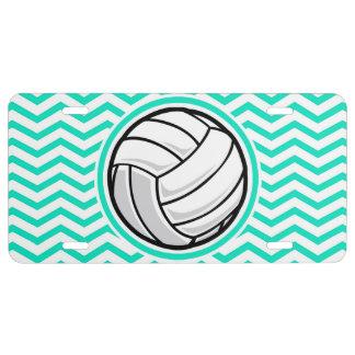 Volleyball; Aqua Green Chevron License Plate