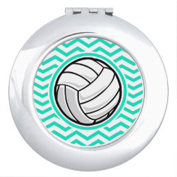 Volleyball; Aqua Green Chevron Mirror For Makeup