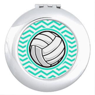 Volleyball; Aqua Green Chevron Mirror For Makeup