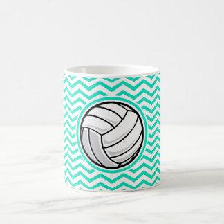 Volleyball; Aqua Green Chevron Coffee Mug