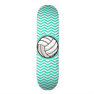 Volleyball; Aqua Green Chevron Skate Deck