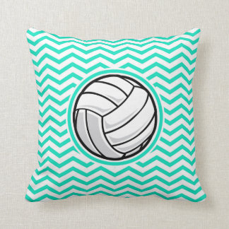Volleyball; Aqua Green Chevron Throw Pillow