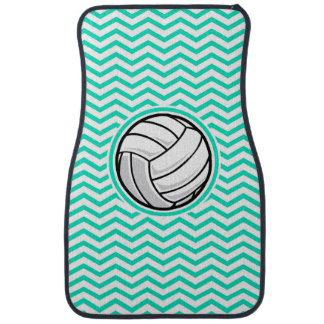 Volleyball; Aqua Green Chevron Car Mat