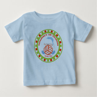 Volleyball Baby Boy 1st Christmas with Name Baby T-Shirt