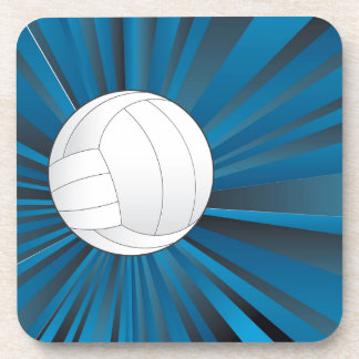 Volleyball Ball on Rays Background Beverage Coaster