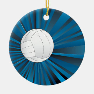 Volleyball Ball on Rays Background Ceramic Ornament