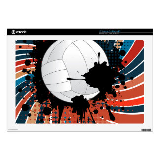 Volleyball Ball on Rays Background Decal For Laptop