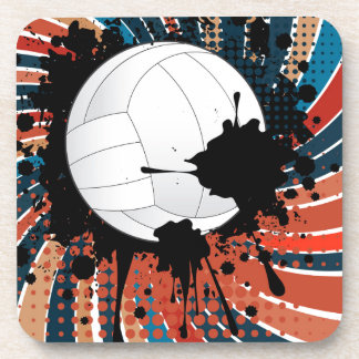 Volleyball Ball on Rays Background Drink Coaster