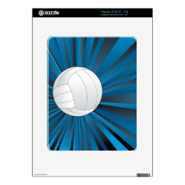 Volleyball Ball on Rays Background iPad Skins