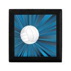 Volleyball Ball on Rays Background Jewelry Box
