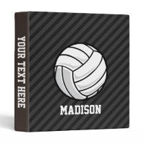 Volleyball; Black & Dark Gray Stripes Binder