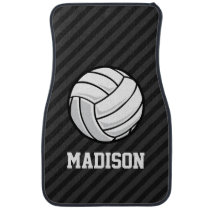 Volleyball; Black & Dark Gray Stripes Car Mat