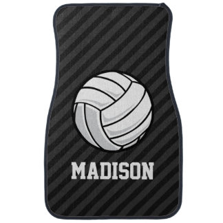 Volleyball; Black & Dark Gray Stripes Car Mat