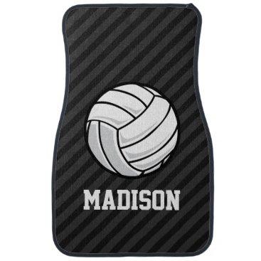 birthday Volleyball; Black & Dark Gray Stripes Car Mat