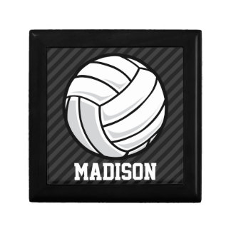 Volleyball; Black & Dark Gray Stripes Trinket Box