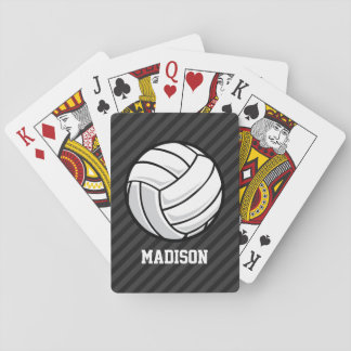 Volleyball; Black & Dark Gray Stripes Playing Cards