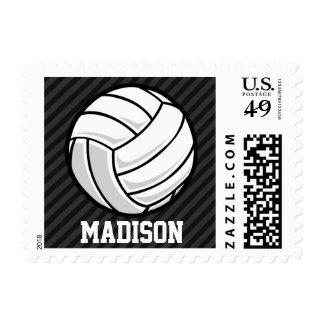 Volleyball; Black & Dark Gray Stripes Postage Stamp