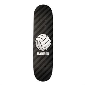 Volleyball; Black & Dark Gray Stripes Skateboard
