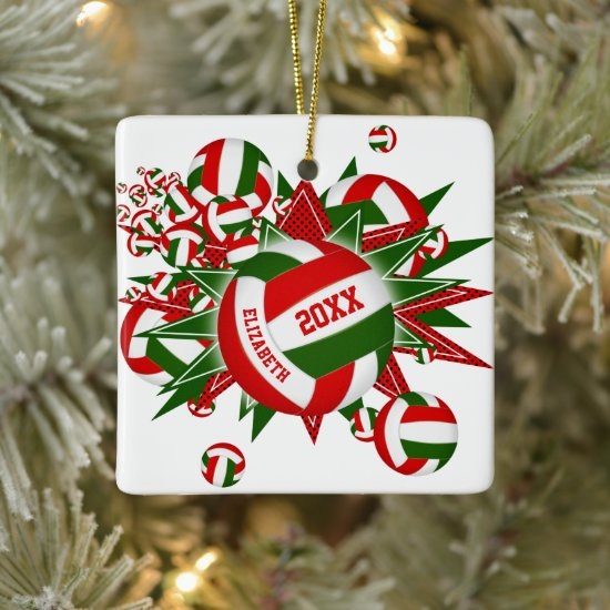 Volleyball Blowout girls boys Christmas sports Ceramic Ornament