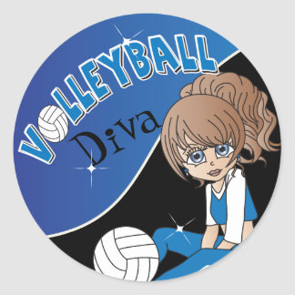Volleyball Blue Diva Girl Classic Round Sticker