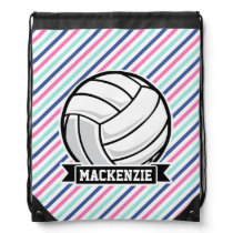 Volleyball; Blue, Pink, & White Stripes, Sports Drawstring Bag