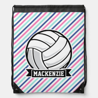 Volleyball; Blue, Pink, & White Stripes, Sports Drawstring Bag