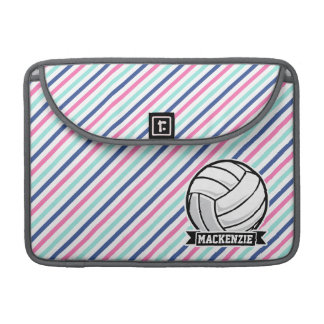 Volleyball; Blue, Pink, & White Stripes, Sports Sleeve For MacBooks