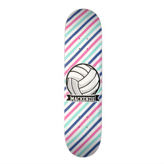 Volleyball; Blue, Pink, & White Stripes, Sports Skateboard