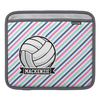 Volleyball; Blue, Pink, & White Stripes, Sports Sleeves For iPads