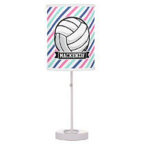 Volleyball; Blue, Pink, & White Stripes, Sports Table Lamp