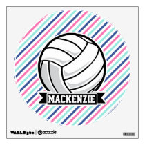 Volleyball; Blue, Pink, & White Stripes, Sports Wall Sticker
