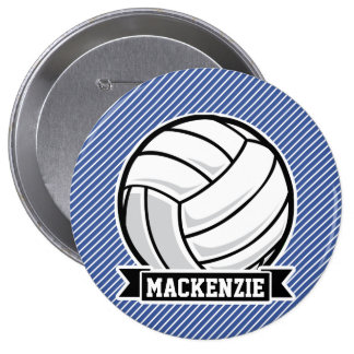 Volleyball, Blue & White Stripes, Sports Button