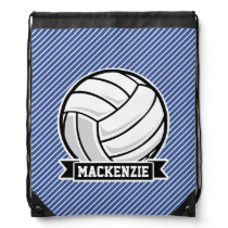 Volleyball, Blue & White Stripes, Sports Drawstring Bag