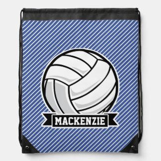 Volleyball, Blue & White Stripes, Sports Drawstring Bag