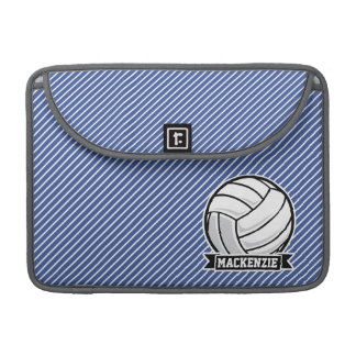Volleyball, Blue & White Stripes, Sports Sleeve For MacBook Pro