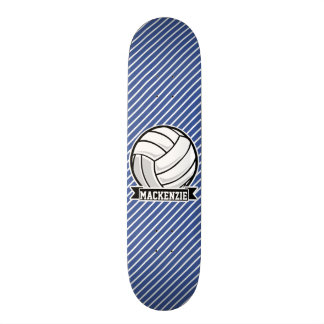 Volleyball, Blue & White Stripes, Sports Skate Deck