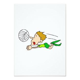 Volleyball boy dive 5x7 paper invitation card