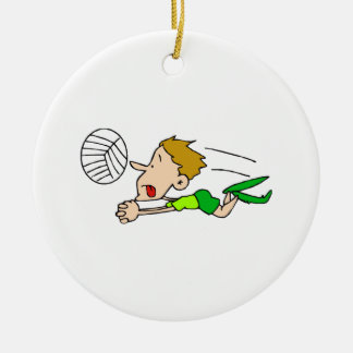 Volleyball boy dive Double-Sided ceramic round christmas ornament