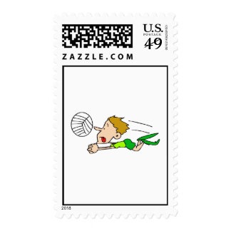 Volleyball boy dive postage stamps